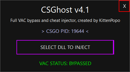 Инжектор CSGhost на КС ГО – Trusted-Bypassing Injector